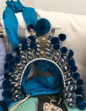 Green Snake helmet +blue silk