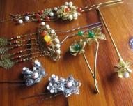 6 non-opera gaudy gold_jade_pearl_coral+silver pins